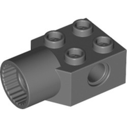 Dark Bluish Gray Technic, Brick Modified 2 x 2 with Pin Hole, Rotation Joint Socket - used