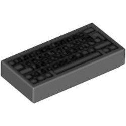 Dark Bluish Gray Tile 1 x 2 with Groove with Computer Keyboard Standard Pattern - new