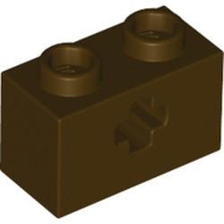 Dark Brown Technic, Brick 1 x 2 with Axle Hole - new