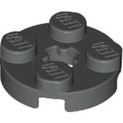 Dark Gray Plate, Round 2 x 2 with Axle Hole - used
