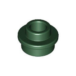 Dark Green Plate, Round 1 x 1 with Open Stud - new