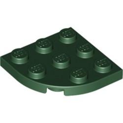 Dark Green Plate, Round Corner 3 x 3 - new