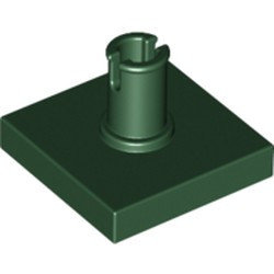 Dark Green Tile, Modified 2 x 2 with Pin - used
