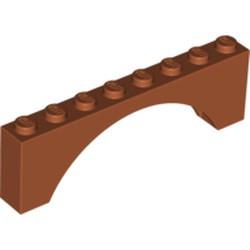 Dark Orange Brick, Arch 1 x 8 x 2 - used