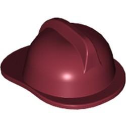 Dark Red Minifigure, Headgear Fire Helmet - used