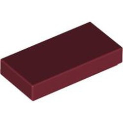 Dark Red Tile 1 x 2 with Groove - new