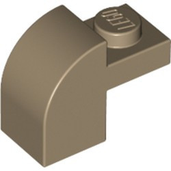 Dark Tan Slope, Curved 2 x 1 x 1 1/3 with Recessed Stud - new
