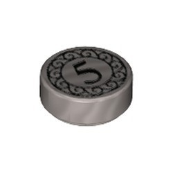 Flat Silver Tile, Round 1 x 1 with Black Number 5 Coin Pattern