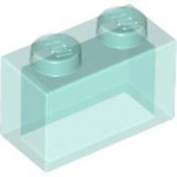 Glitter Trans-Light Blue Brick 1 x 2 without Bottom Tube