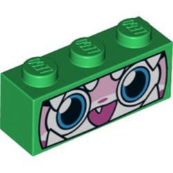 Green Brick 1 x 3 with Cat Face Wide Eyes, Smiling Open Mouth with One Tooth, Green Dinosaur Mask with White Teeth Pattern (Dinosaur Unikitty) - new