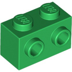 Green Brick, Modified 1 x 2 with Studs on 1 Side - new