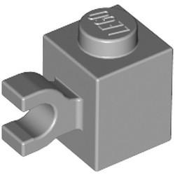 Light Bluish Gray Brick, Modified 1 x 1 with Clip (Horizontal Grip) - new