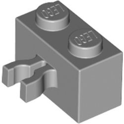 Light Bluish Gray Brick, Modified 1 x 2 with Open O Clip Thick (Vertical Grip) - new
