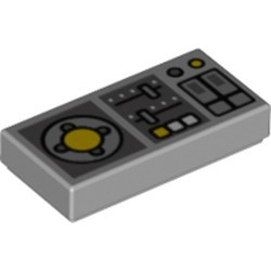 Light Bluish Gray Tile 1 x 2 with Groove with Vehicle Control Panel Two Sliders Pattern