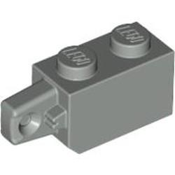 Light Gray Hinge Brick 1 x 2 Locking with 1 Finger Vertical End