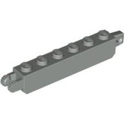 Light Gray Hinge Brick 1 x 6 Locking with 1 Finger Vertical End and 2 Fingers Vertical End, 9 Teeth - used