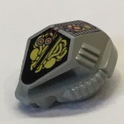 Light Gray Minifigure, Headgear Helmet UFO with Mechanical Pattern
