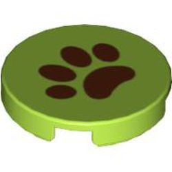 Lime Tile, Round 2 x 2 with Brown Paw Pattern