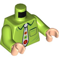Lime Torso Shirt with Collar and Pocket, White Tie with Orange, Red and Green Spots Pattern / Lime Arms / Light Nougat Hands