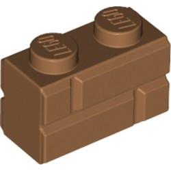 Medium Nougat Brick, Modified 1 x 2 with Masonry Profile