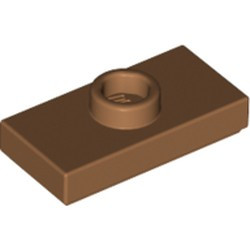Medium Nougat Plate, Modified 1 x 2 with 1 Stud with Groove and Bottom Stud Holder (Jumper) - new