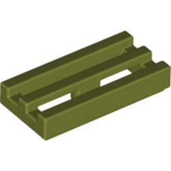 Olive Green Tile, Modified 1 x 2 Grille with Bottom Groove / Lip - used