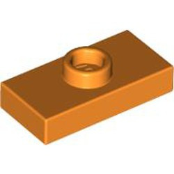 Orange Plate, Modified 1 x 2 with 1 Stud without Groove (Jumper) - used