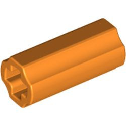 Orange Technic, Axle Connector 2L (Smooth with x Hole + Orientation) - used