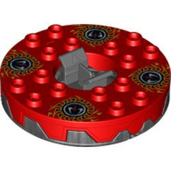 Pearl Dark Gray Turntable 6 x 6 Round Base Serrated with Red Top and Red, White, Yellow and Black Fangpyre Pattern (Ninjago Spinner) - used