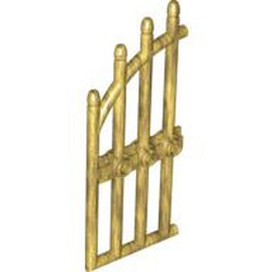 Pearl Gold Door 1 x 4 x 9 Arched Gate with Bars and Three Studs