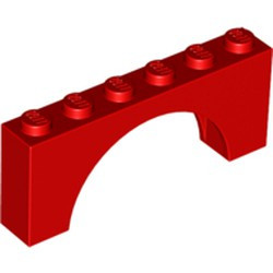 Red Arch 1 x 6 x 2 - Thick Top with Reinforced Underside