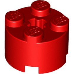 Red Brick, Round 2 x 2 with Axle Hole - new