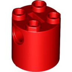 Red Brick, Round 2 x 2 x 2 Robot Body - with Bottom Axle Holder x Shape + Orientation - used