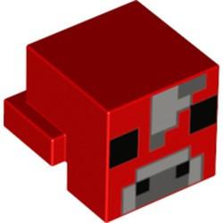 Red Creature Head Pixelated with Light Bluish Gray, Dark Bluish Gray and Black Face Pattern (Minecraft Mooshroom) - used