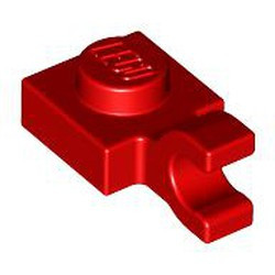 Red Plate, Modified 1 x 1 with Open O Clip (Horizontal Grip) - new