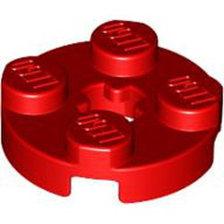 Red Plate, Round 2 x 2 with Axle Hole (x Shape) - new