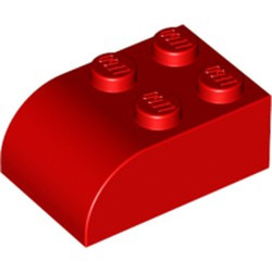 Red Slope, Curved 3 x 2 x 1 with Four Studs - new