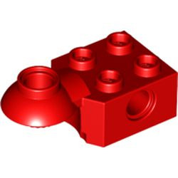 Red Technic, Brick Modified 2 x 2 with Pin Hole, Rotation Joint Ball Half (Horizontal Top)