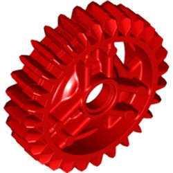 Red Technic, Gear 28 Tooth Double Bevel with Pin Hole