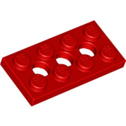 Red Technic, Plate 2 x 4 with 3 Holes - used