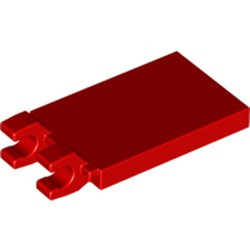 Red Tile, Modified 2 x 3 with 2 Open O Clips