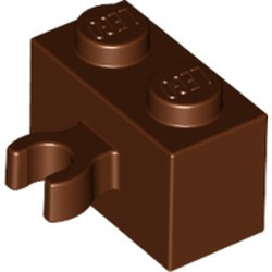 Reddish Brown Brick, Modified 1 x 2 with Open O Clip Thick (Vertical Grip) - used