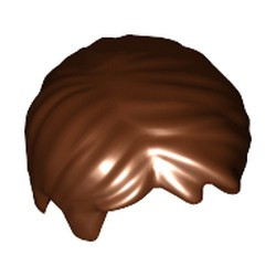 Reddish Brown Minifigure, Hair Short Tousled with Side Part - used