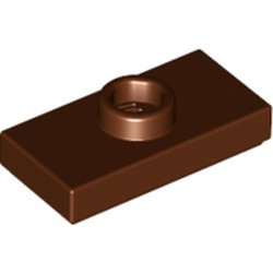 Reddish Brown Plate, Modified 1 x 2 with 1 Stud with Groove and Bottom Stud Holder (Jumper) - used