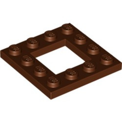Reddish Brown Plate, Modified 4 x 4 with 2 x 2 Cutout - new