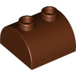 Reddish Brown Slope, Curved 2 x 2 x 1 Double with 2 Studs