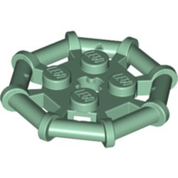 Sand Green Plate, Modified 2 x 2 with Bar Frame Octagonal, Reinforced, Completely Round Studs - new