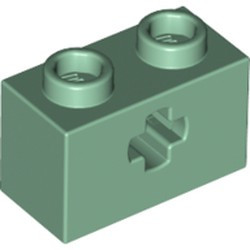 Sand Green Technic, Brick 1 x 2 with Axle Hole - new