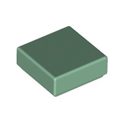Sand Green Tile 1 x 1 with Groove (3070) - used