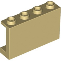 Tan Panel 1 x 4 x 2 with Side Supports - Hollow Studs